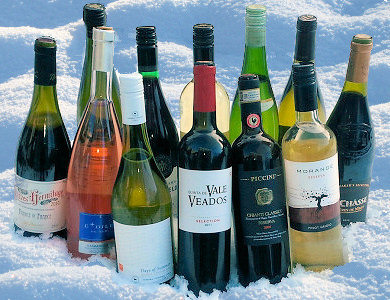 wines in snow