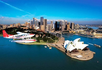 Seaplane over Sydney Opera House