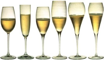 different shapes of Champagne glass